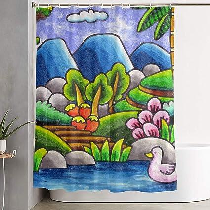 Amazoncom Asdgegasfas Bath Shower Curtain With Hooks Sketsa Gambar