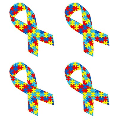 dealzEpic - Colorful Jigsaw Puzzle Pattern Autism Awareness Ribbon - Self Adhesive Peel and Stick Vinyl Decal - 3.9 x 2 inches | Pack of 4 Pcs : Office Products
