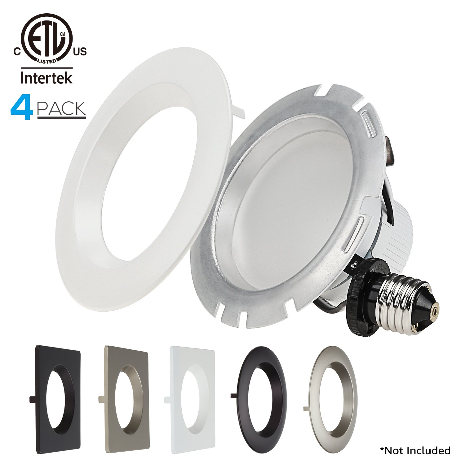 4-PACK 4 Inch Dimmable Recessed LED Downlight, 10W (75W Equiv.), White Trim Attached, Trim Interchangeable, For All Furnishing Styles, 2700K Soft White, ETL-listed, 5 YEAR WARRANTY by TORCHSTAR