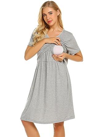 Skylin Loose Sleep Dress Nightgown Womens Nighties Nursing Nightwear  Loungewear (Grey 4b05e4cb3