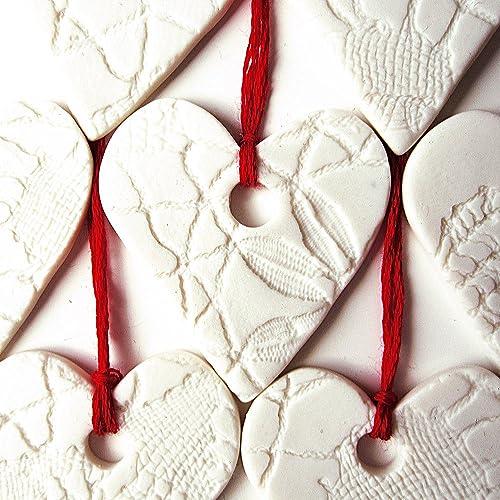 Image Unavailable - Amazon.com: 5 White Porcelain Christmas Decorations Heart Shaped