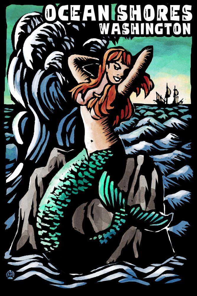 Ocean Shores、ワシントン – マーメイド – Scratchboard 36 x 54 Giclee Print LANT-52931-36x54 36 x 54 Giclee Print  B017E9T65E