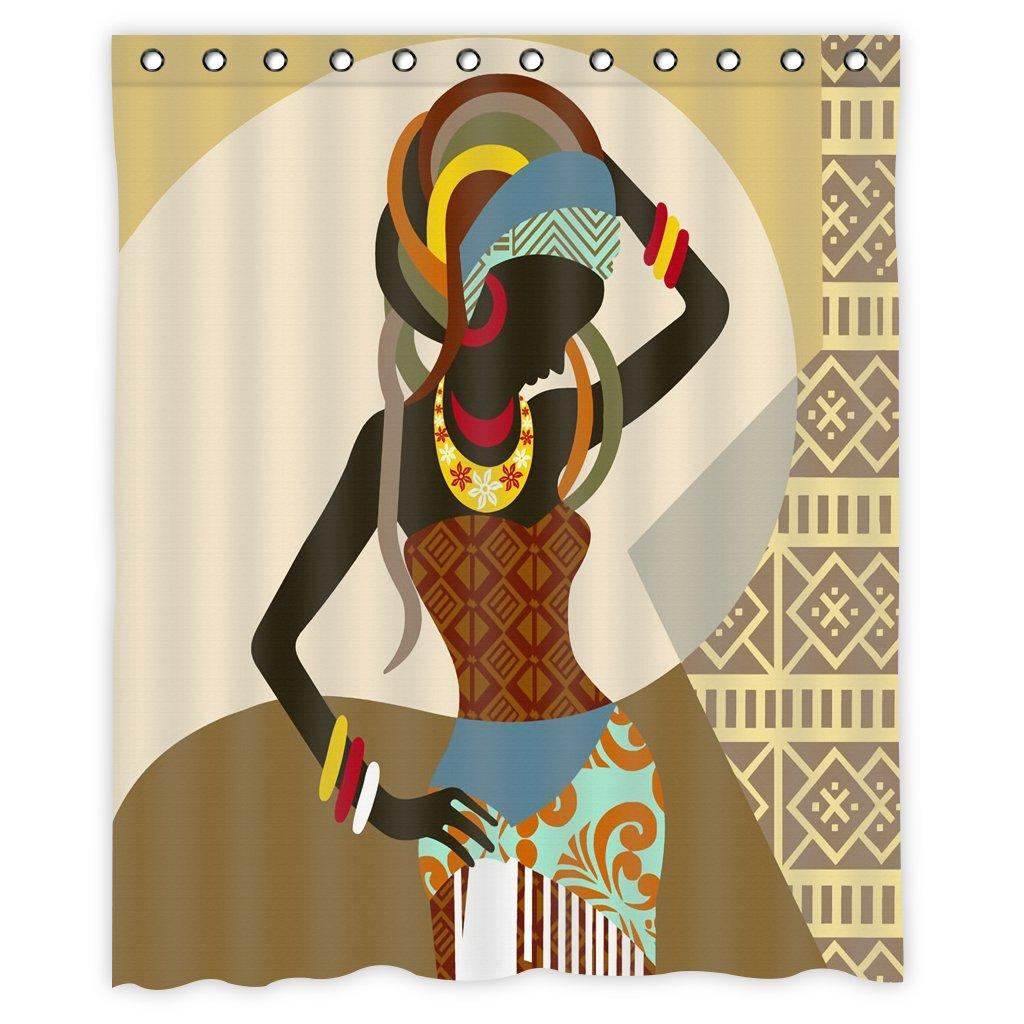 Mugod African Women Shower Curtain Decor by, Beautiful African Woman Dance Art Polyester Fabric Waterproof Bathroom Shower Curtain Set with 12 Hooks Size 60''X72''