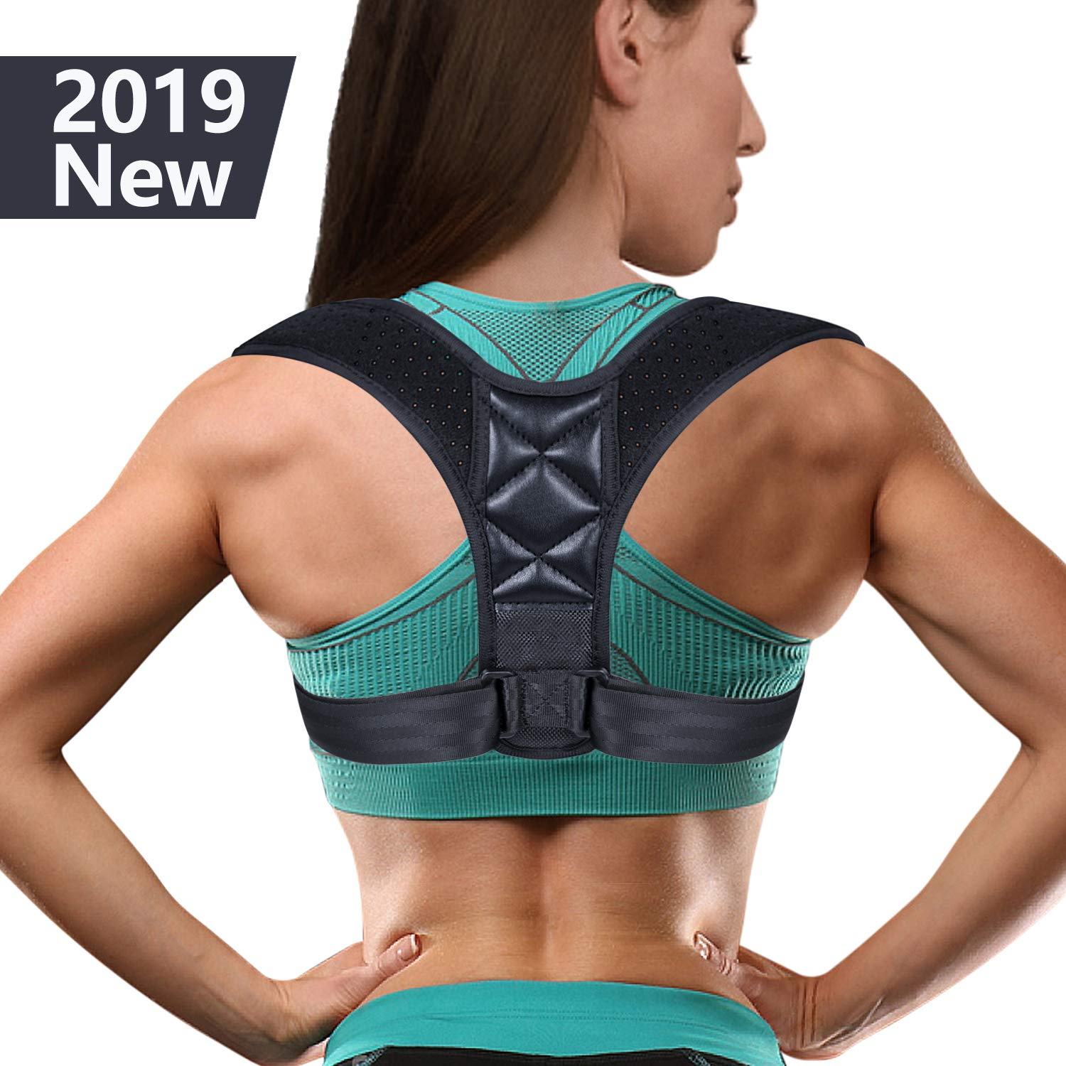 (2019 New) Posture Corrector for Women Men - Posture Brace with Magic Sticker Adjustable Back Straightener, Comfortable Upper Clavicle Support Device for Thoracic Kyphosis and Back Pain Relief