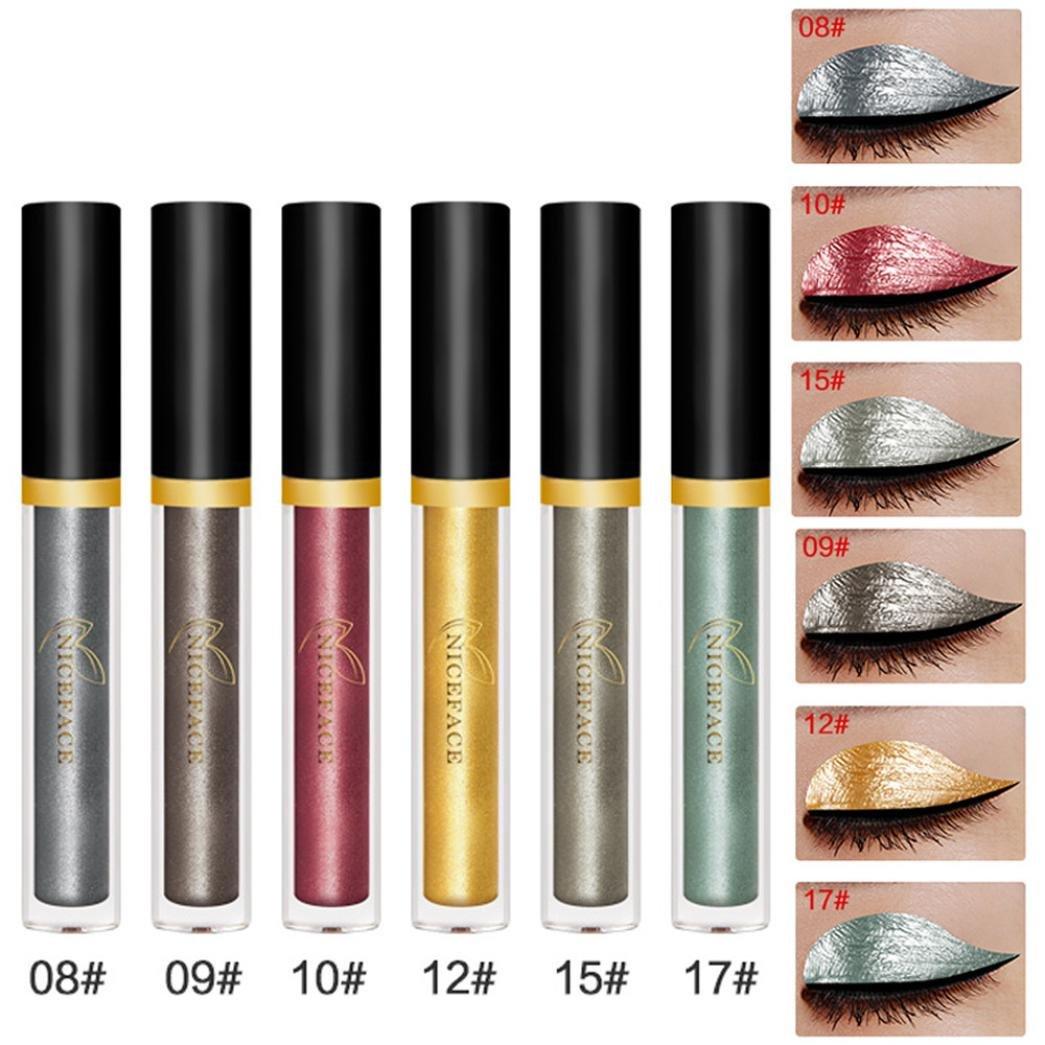 SMILEQ Metallic Smoky Eyeshadow Waterproof Glitter Liquid Eyeliner 6 Pcs Halloween Style