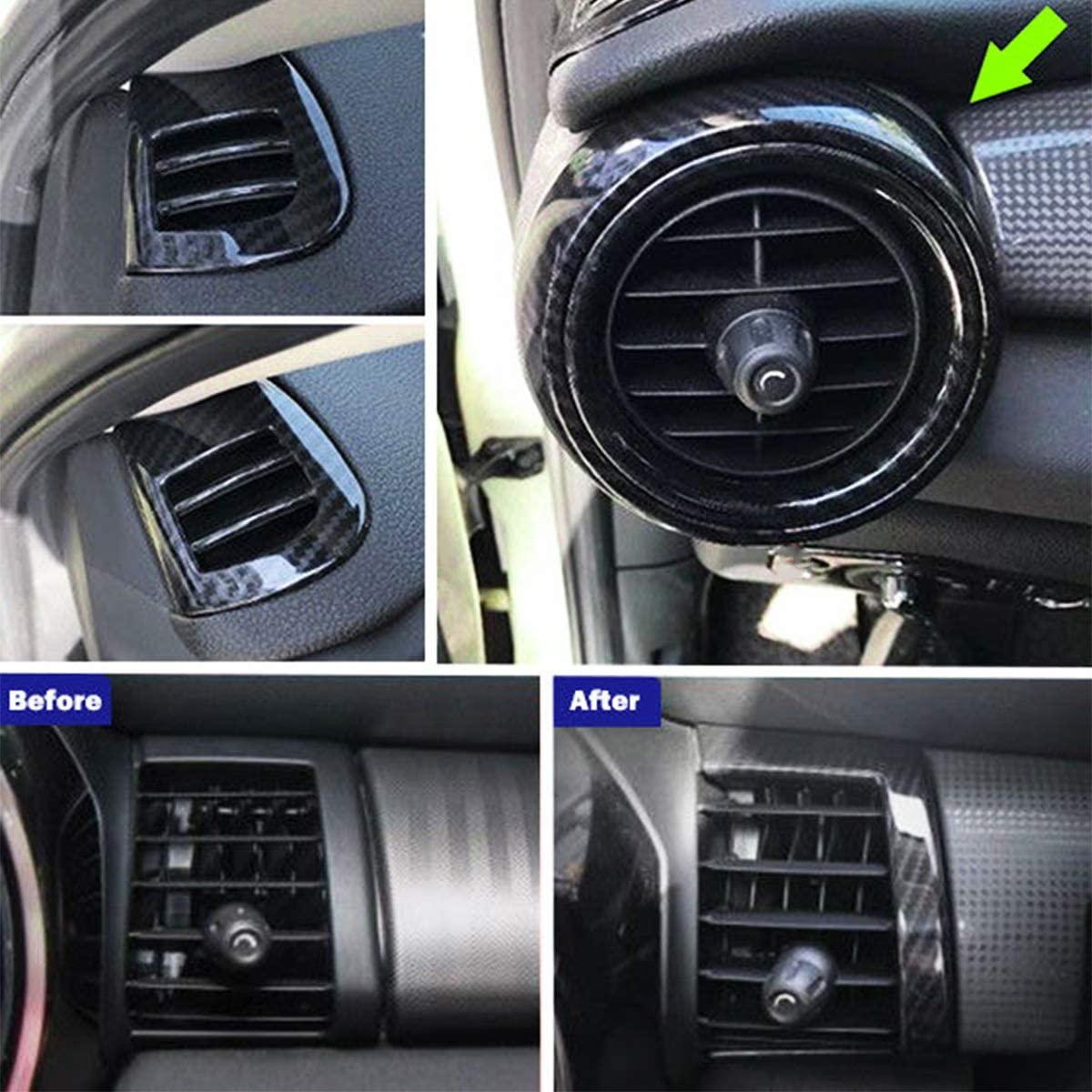 HCHD 8Pcs Dash Air Vent-Abdeckung for BMW Mini Cooper F55 F56 F57 Carbon-Faser-Innenleisten Auto Air Outlet Borte Aufkleber