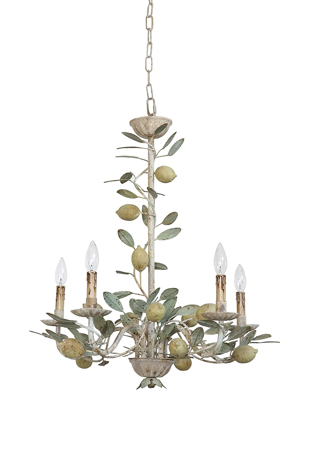 Distressed metal chandelier with lemons for French farmhouse and European country style spaces.