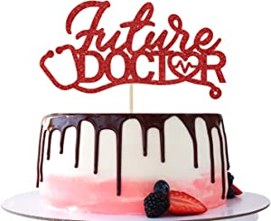 Future Doctor Cake Topper - Glitter Congrats Doctor, Medical School Doctor Themed Graduation Party Cake Decorations Supplies(Red)