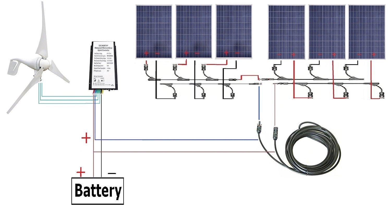 ECO-WORTHY 24 Volts 1KW Wind Solar Panel System: 1pc 12V/24V 400 Watt Wind Turbine Generator + 6pcs 12V 100 Watt Polycrystalline Solar Panel + Y Branch MC4 Connectors + 50ft Solar Cable Adapter