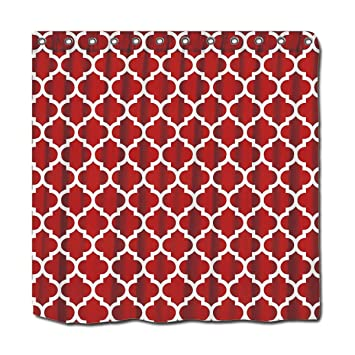 YYT Personalized Shower Curtains Cranberry Red White Moroccan Quatrefoil  Pattern #5 Shower Curtain 72u0026quot;