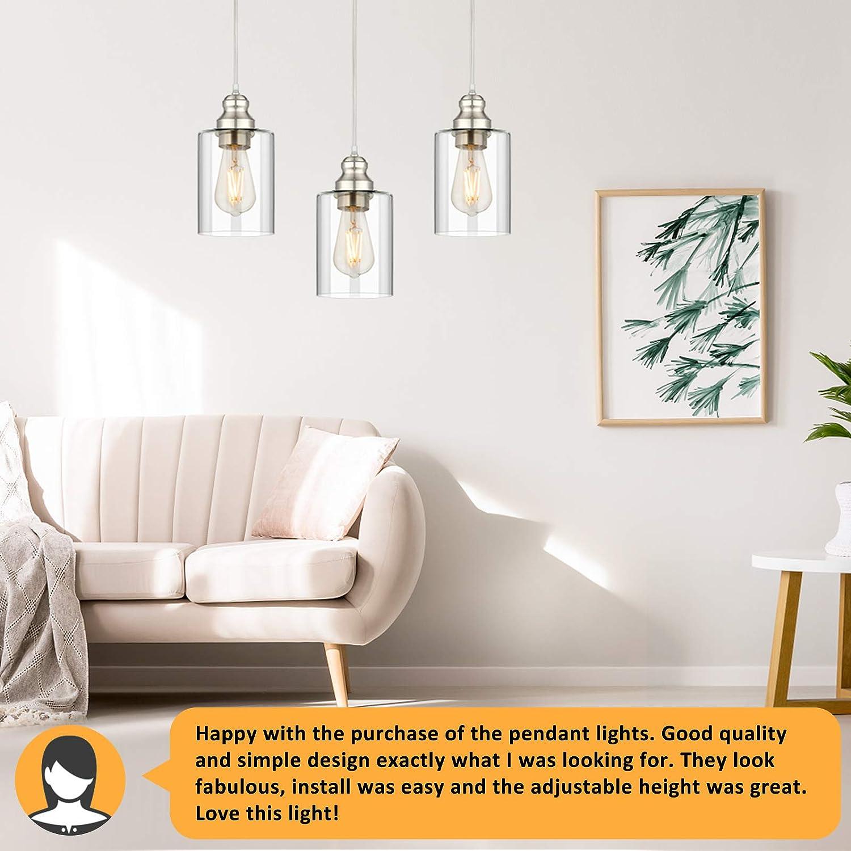 Clear Glass Shade Pendant Light Industrial Pendant Lighting Adjustable Hanging Light Fixtures 3-Pack Vintage Farmhouse Mini Hanging Ceiling Lamp for Kitchen Living Room Bedroom Hallway E26 Base