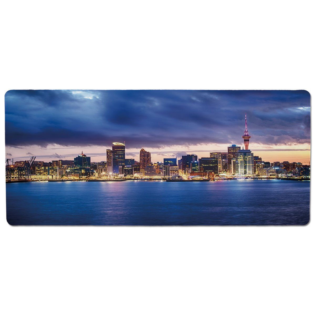35.4\ iPrint Pet Mat for Food and Water,City,Auckland The Biggest City in New Zealand Waterfront Travel Destination,Navy bluee Pale Yellow,Rectangle Non-Slip Rubber Mat for Dogs and Cats