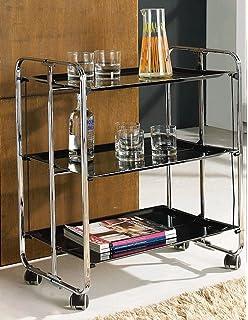 METALCASA Carrito Camarera Plegable Estructura Cromado Tres bandejas Color Negro (Negro)
