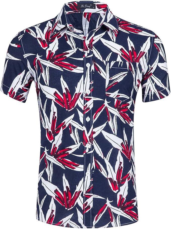 Camisa Hawaiana para Hombre Tencel Estampado De Algodón Playa Manga Corta Verano: Amazon.es: Ropa y accesorios