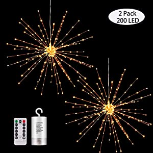 2 Pack Hanging Decor Lights,200 Led Battery Powered Fairy Lights, Fireworks Light with Remote, Waterproof Starburst Lights for Gardens Courtyards Christmas Festive Wedding Parties (2 Pack Warm White)