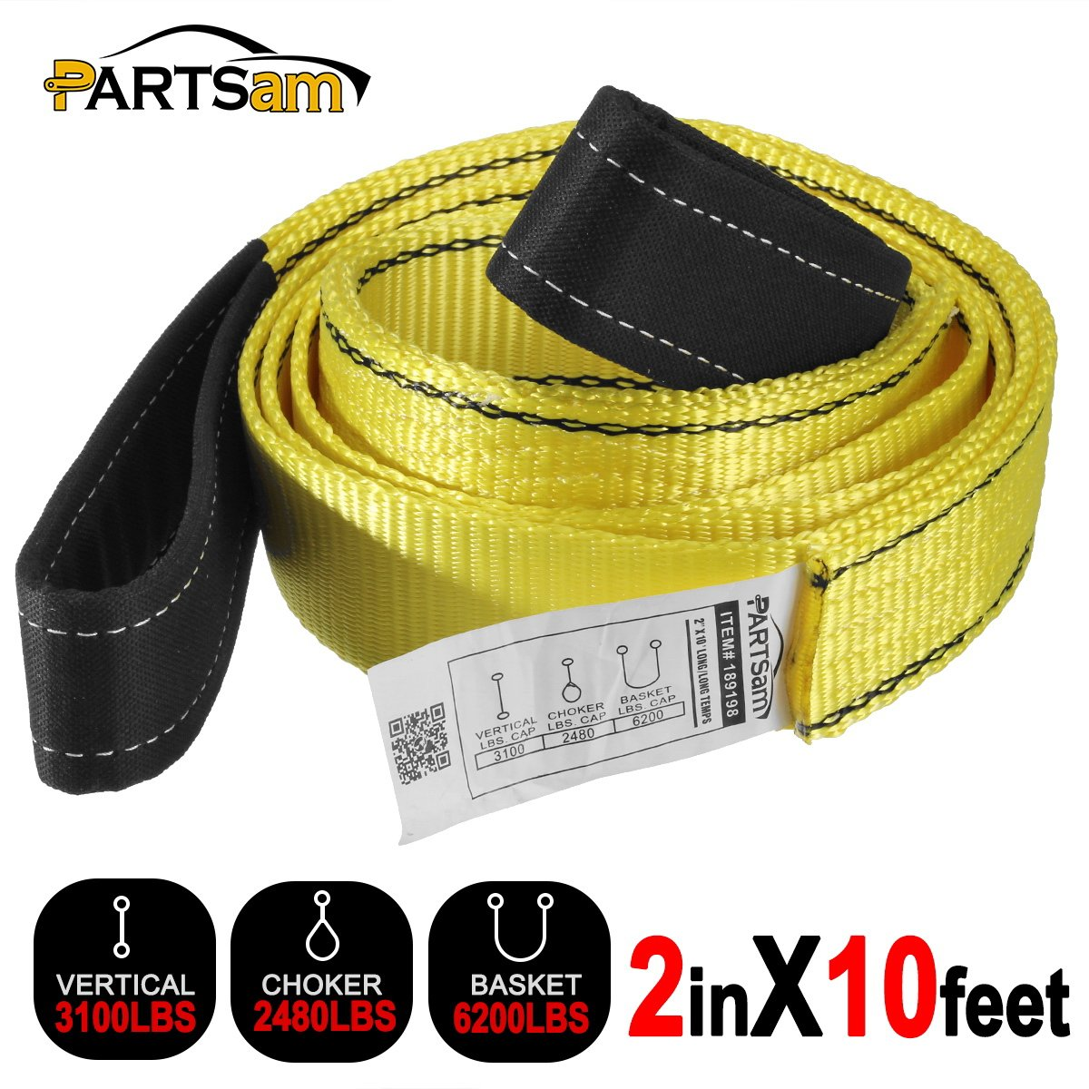 Premium Crane Towing Strap 10feet x 2inch Durable 3400Dtex - Heavy Duty Web Sling - Corrosion Resistance Polyester Industrial Flat Eye-Eye Ropes by Partsam