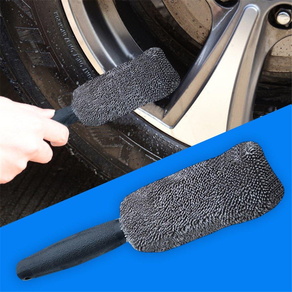 poign/ée longue brosse jante Kit de 3 Brosses de roue de voiture Brosse sp/éciale jantes pour nettoyage jantes voiture moto ou v/élo