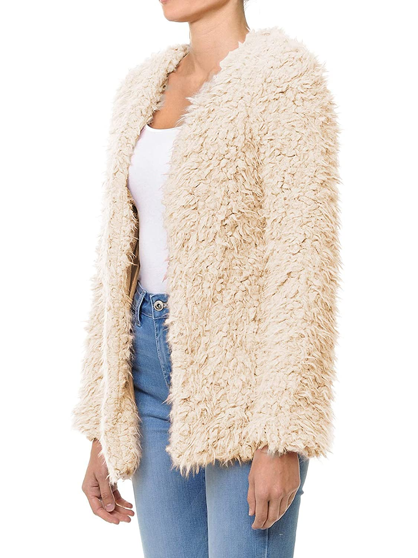 Ijkw051 Khaki Instar Mode Women's Casual Warm Fluffy Faux Fur Oversized Outerwear Jacket Cardigan