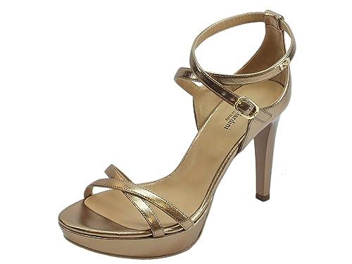 Sandali con tacco a spillo NeroGiardini in pelle colore laminato oro