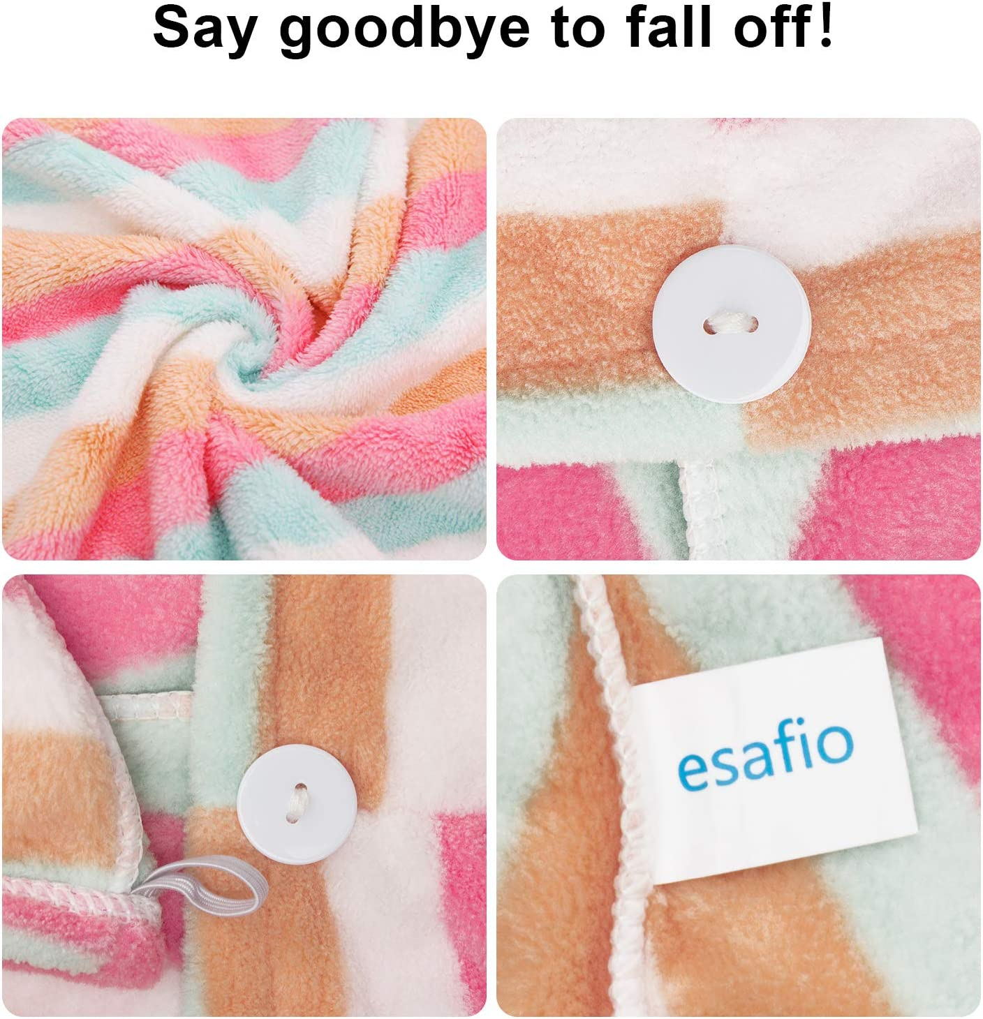 Esafio 2 Pack Soft Microfiber Hair Turban Wrap Super Absorbent Quick Dry hair towels with Buttons Dark Purple+Pink Color for Women Girl /… Unique and stylish design