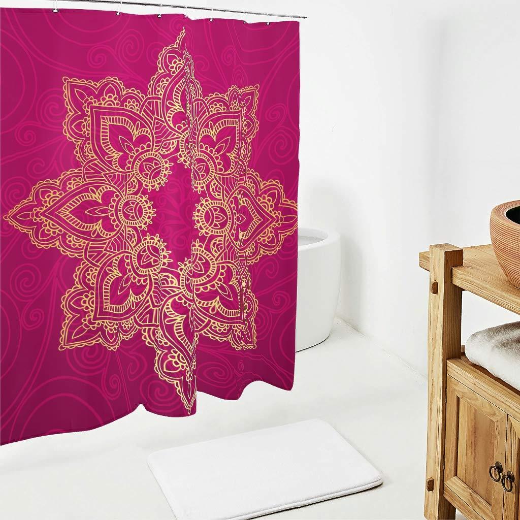 Sweet Luck Mandala Lotus Cortina de Ducha antimoho Resistente al Agua poli/éster Hippie Bohemio Cortina con Ganchos para Cuarto de ba/ño Rosa 120 x 200 cm