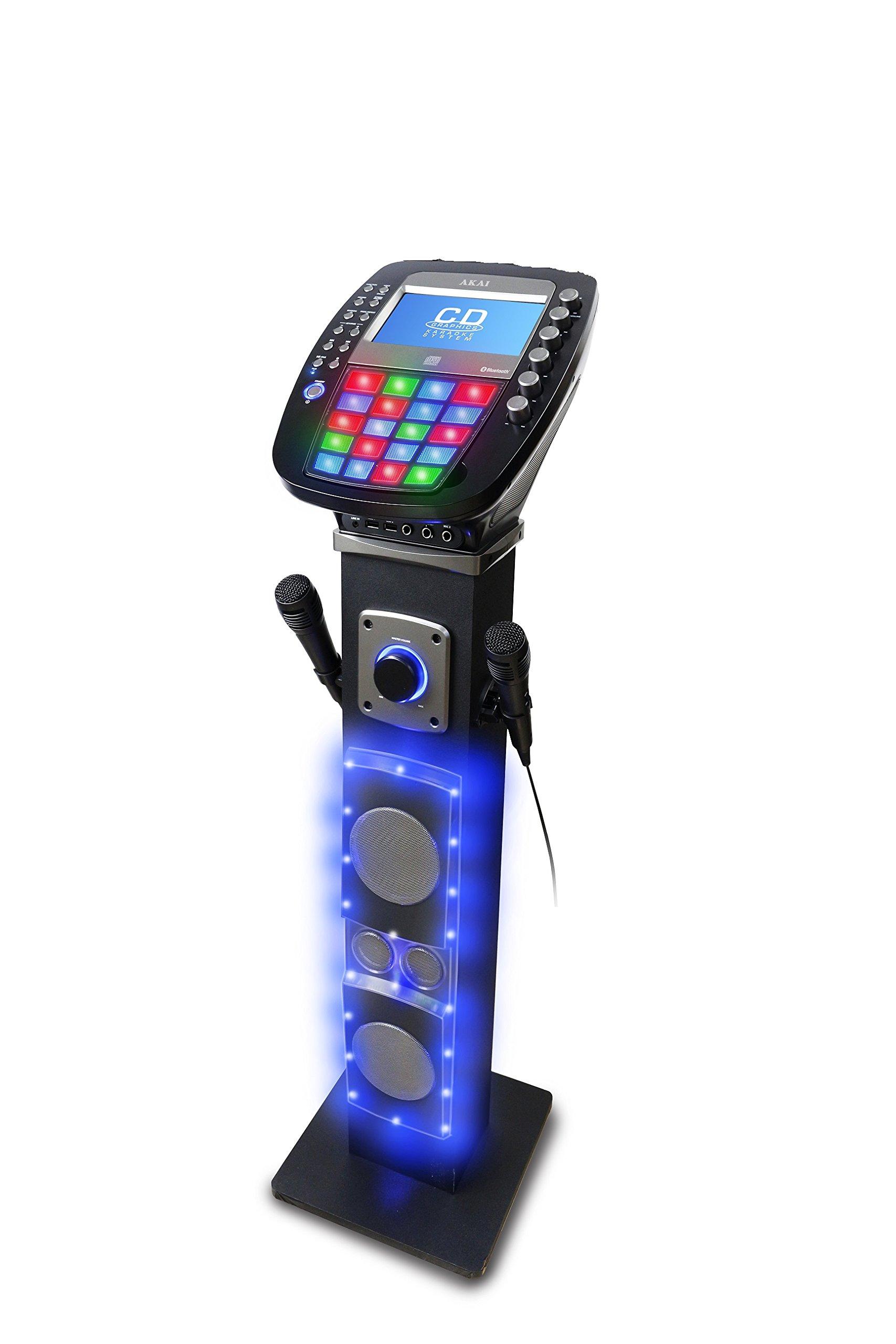 Akai KS878-BT Bluetooth Pedestal CD&G Karaoke System, Black by Akai
