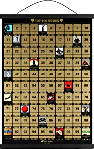 """100 Movies Scratch Off Poster includes Poster Frame 17"""" Long (Black) - The Perfect Movie Room Decor, Wall Art or Gift for Film Buffs - Easy to Scratch and Rate, Includes Scratching Tool & Accessory Bag ( New Print Version)"""