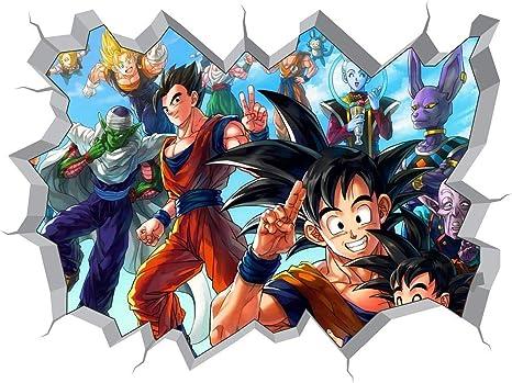 Adesivo 3d Buraco Na Parede Dragon Ball Z Desenho Animado