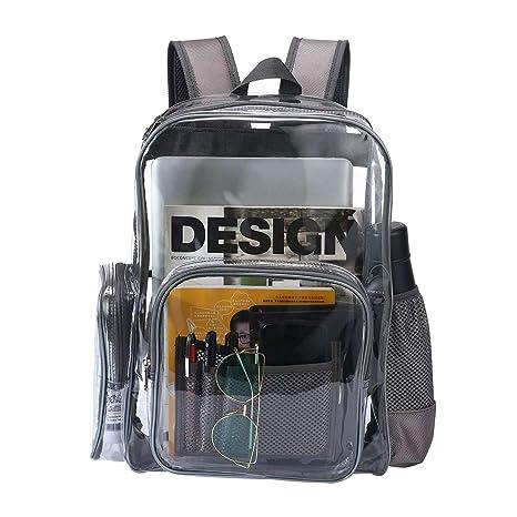 in vendita 9943b 0c0d9 Pawaca Resistente Zaino in PVC Trasparente per Adulti e Studenti,  Multi-Tasche Vedere Attraverso Bookbag Zaino Zaino per Lavoro, Palestra ...