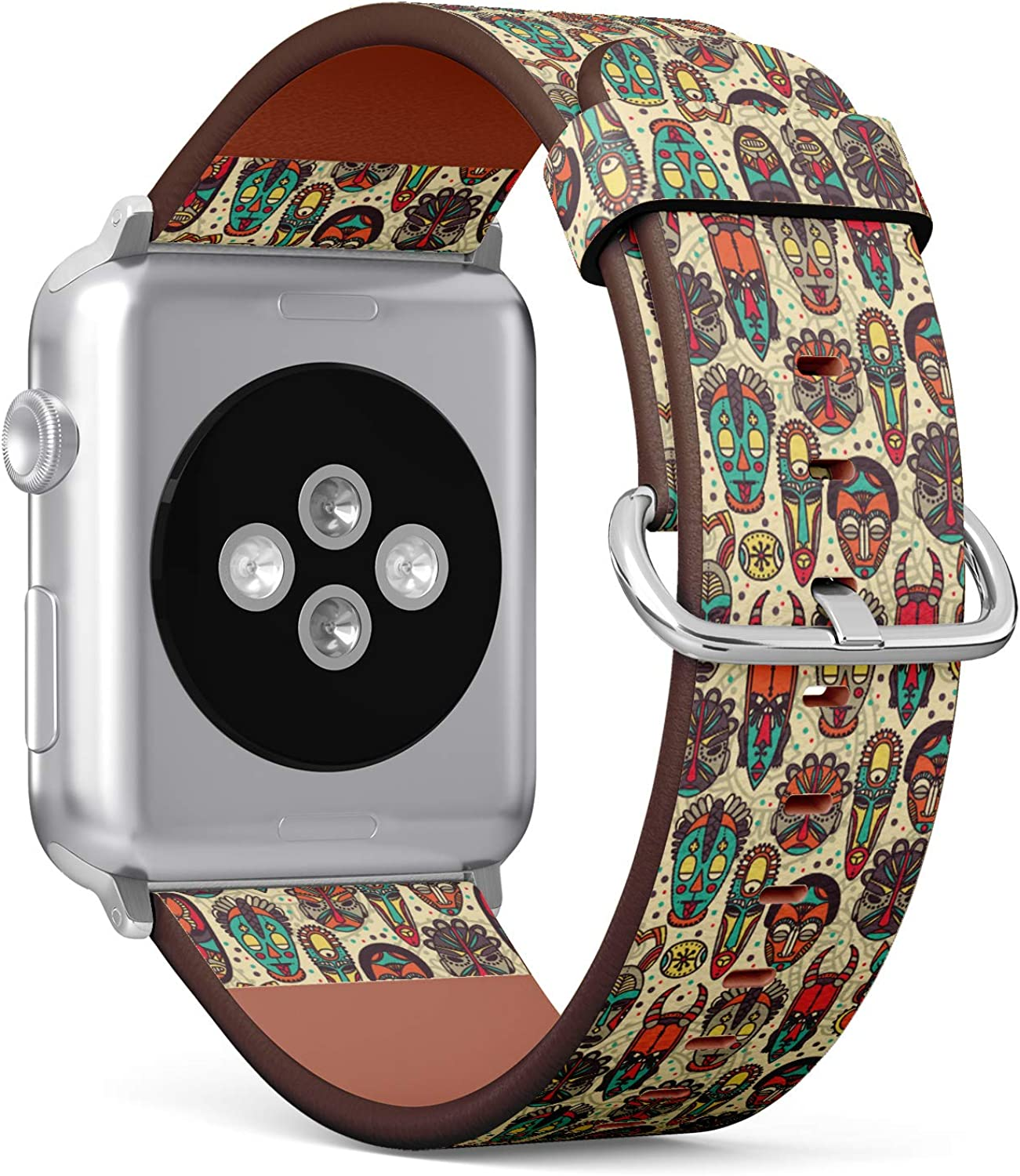 (Pattern with Tribal African Masks) Patterned Leather Wristband Strap for Apple Watch Series 4/3/2/1 gen,Replacement for iWatch 42mm / 44mm Bands