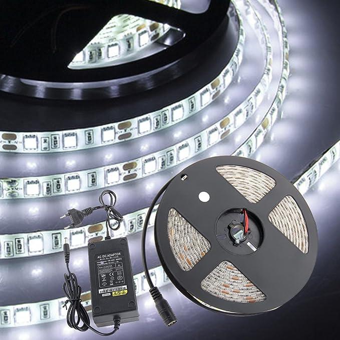Croled 5m 164 Ft Led Ruban Blanc Kit 5050 Smd 300 Leds Dc12v Etanche Flexible Strip Light Alimentation Française 2a Bande Lumineuse Pour