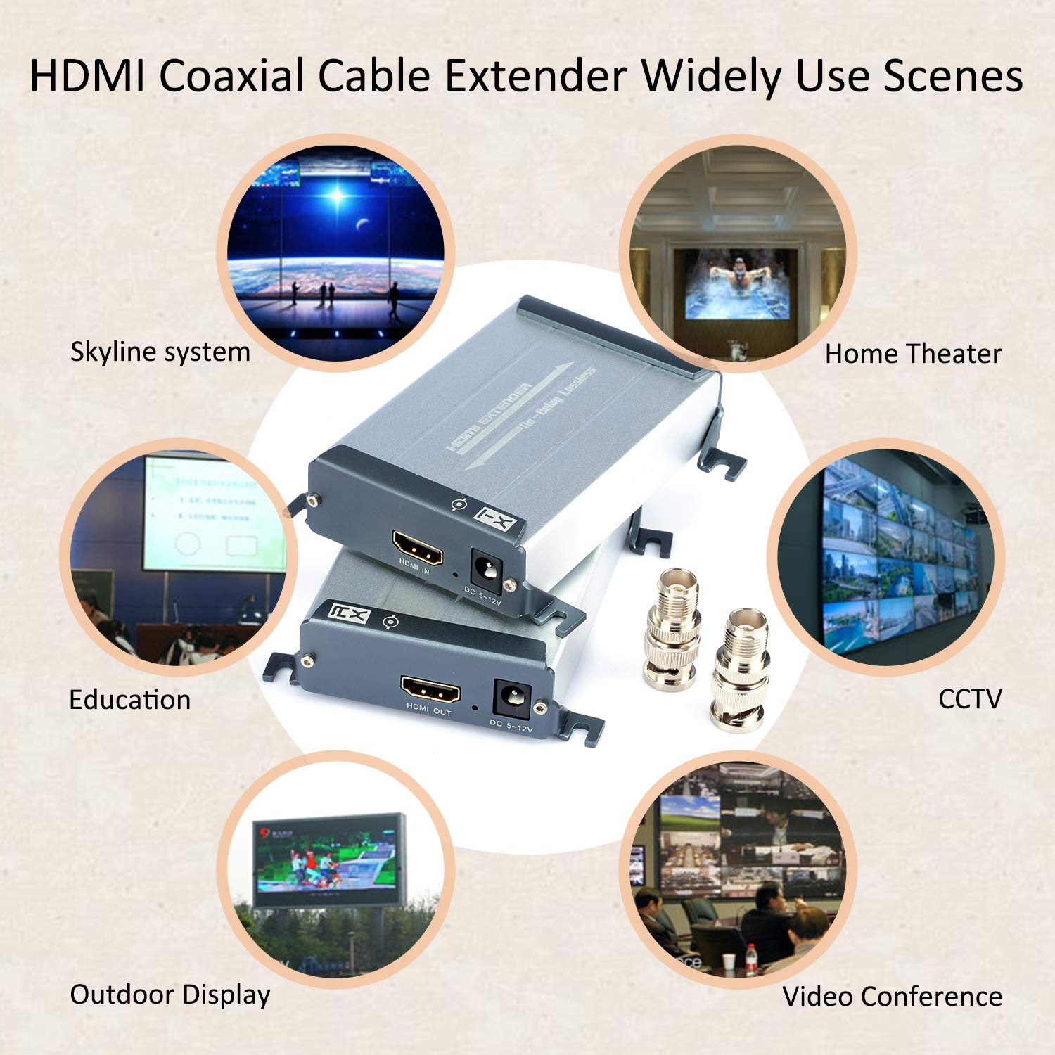 HDMI Over Coax Extender,Ansten HDMI Transmitter and Receiver Support 1080P Full HD HDMI Signal Lossless No Delay, 200m-300m/656FT-984FT HDMI Extender Via Coaxial Cable with BNC Port and F Connector by ANSTEN (Image #5)