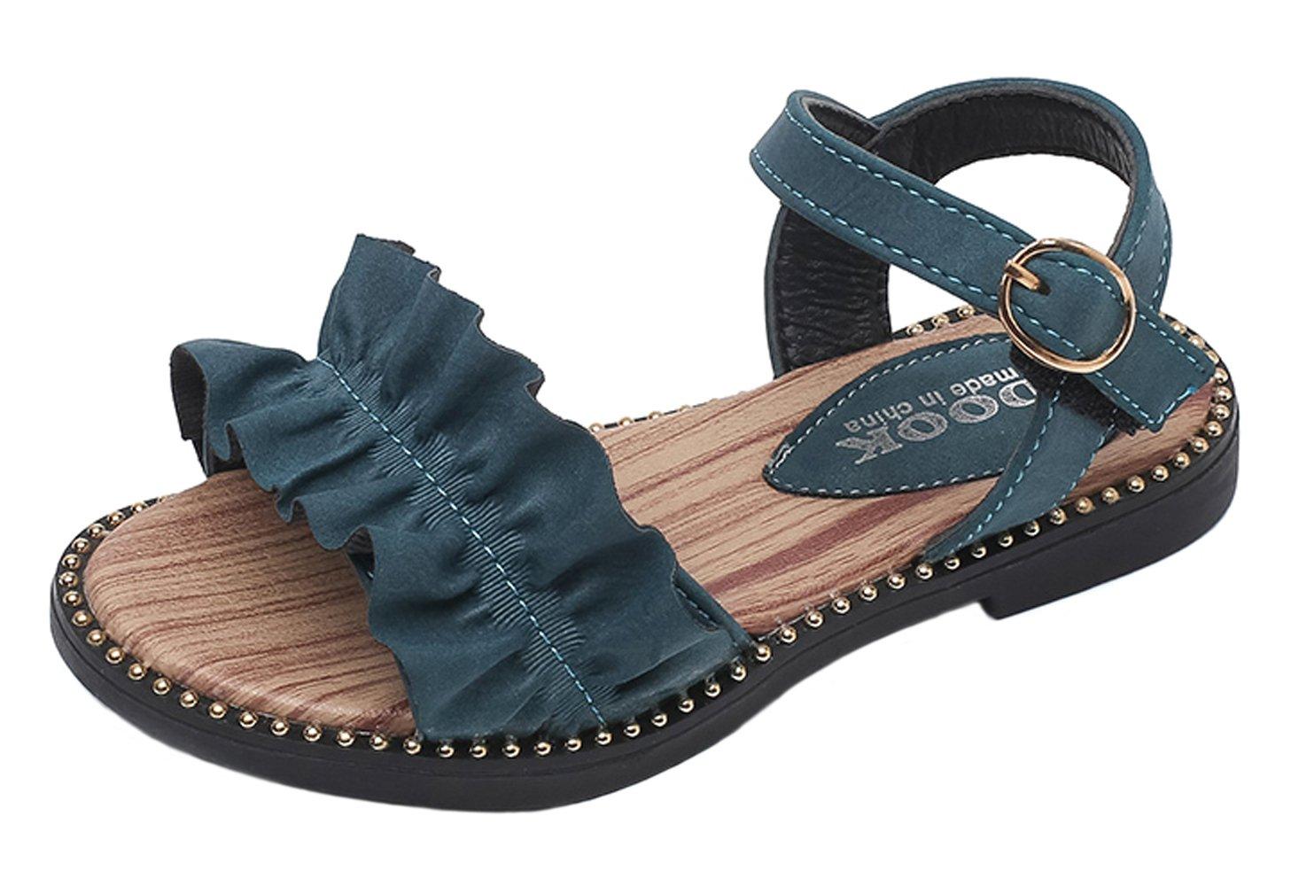 WUIWUIYU Girls Ankle Strap Buckle Flower Leather Walking Flat Sandals Open Toe Summer Princess Shoes by WUIWUIYU