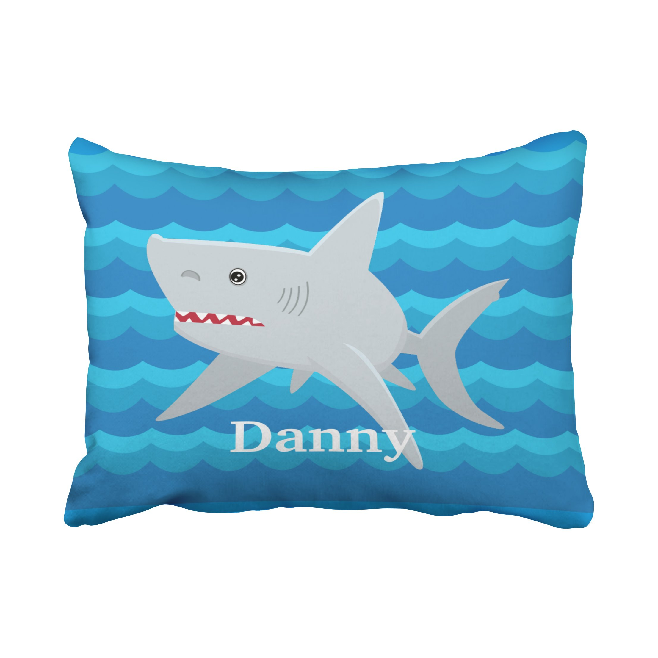 Accrocn Pillowcases Vintage Kids Shark Lover Waves Custom For Boat Gift Cushion Decorative Pillowcase Polyester 20 x 26 Inch Rectangl Standard Size Pillow Covers With Hidden Zipper