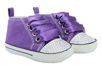 Converse Style Baby Pram Shoes With Crystals And Ribbons (12-18 months Purple)