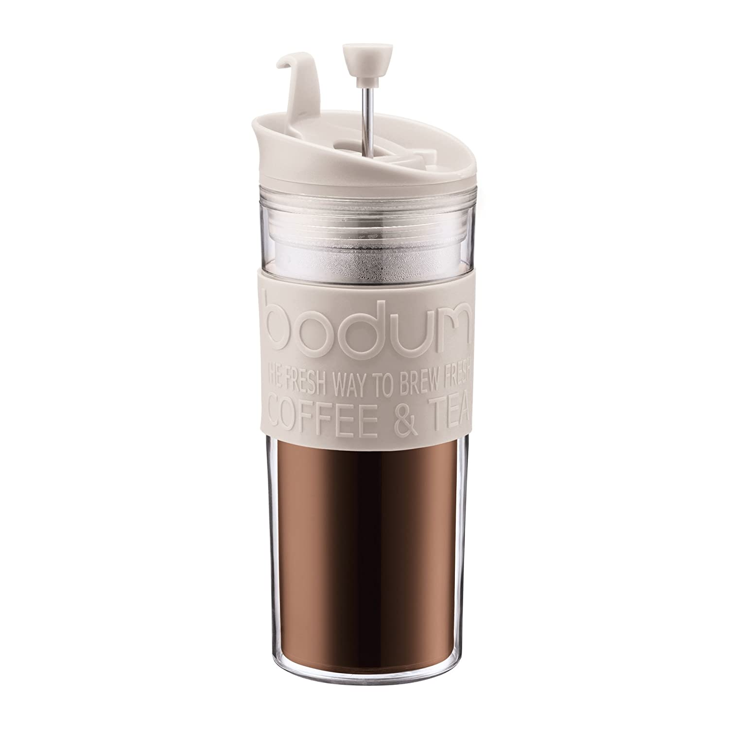 BODUM Travel French Press Coffee Maker, Plastic, White, 0.45 Litre 11100-913 11100-913_913