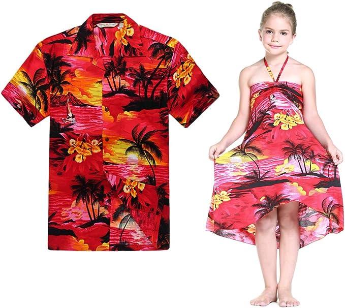 Combinación Hawaiana Luau Outfit Hombre Camisa Chica Vestido en Puesta de Sol roja