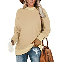 HenzWorld Camisetas de Manga Larga para Mujer Blusa Informal Suelta Blusa Básica Lisa para Mujer