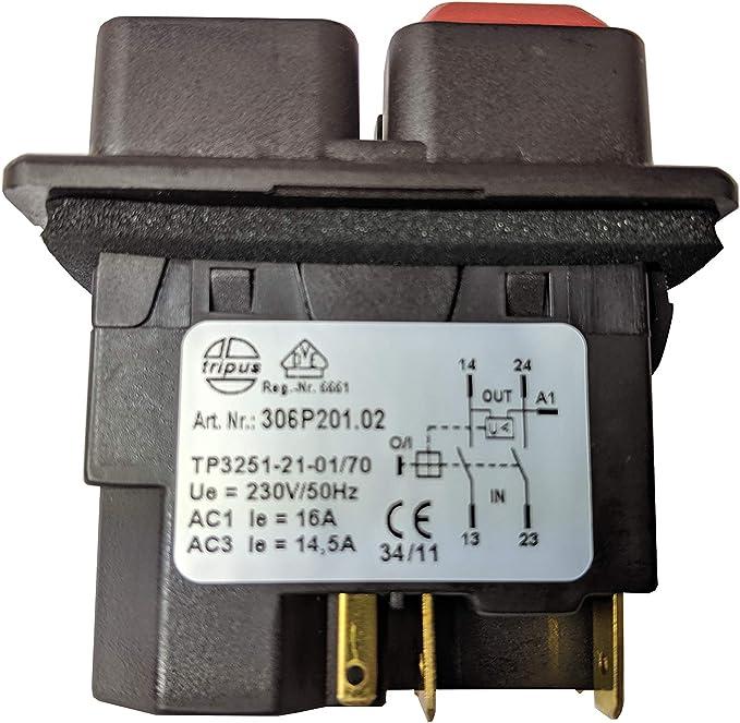 Ein Aus Schalter TRIPUS 306P201.02 für Motoren Betonmischer Gartenhäcksler 230V