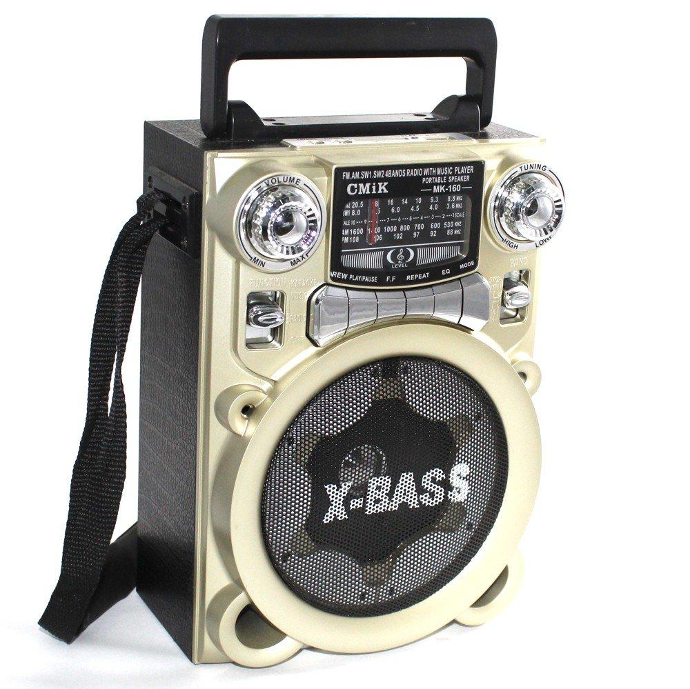 Altavoz Radio Caseta MK160 Inalámbrico X-Bass Radio Fm Mp3 / SD / USB Dorado: Amazon.es: Electrónica