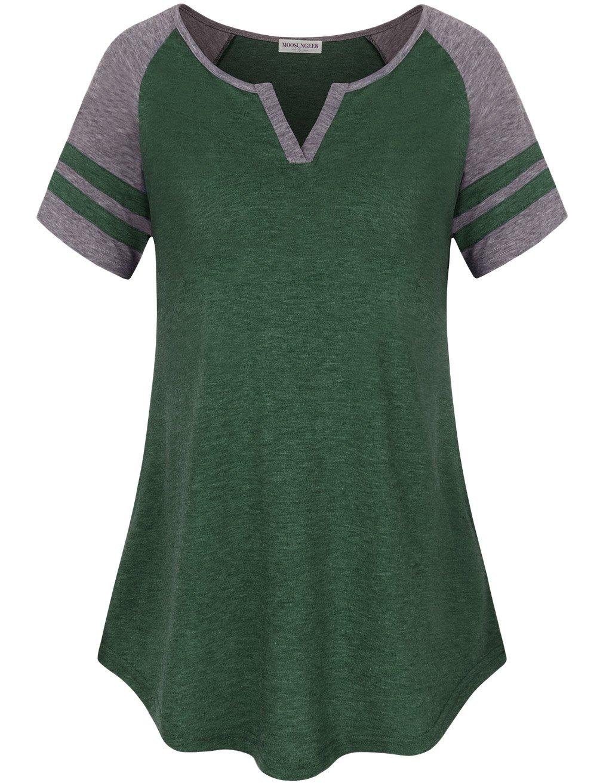 MOOSUNGEEK Striped Baseball Shirt Women, V Neck Raglan Sleeve Shirt Green Gray L