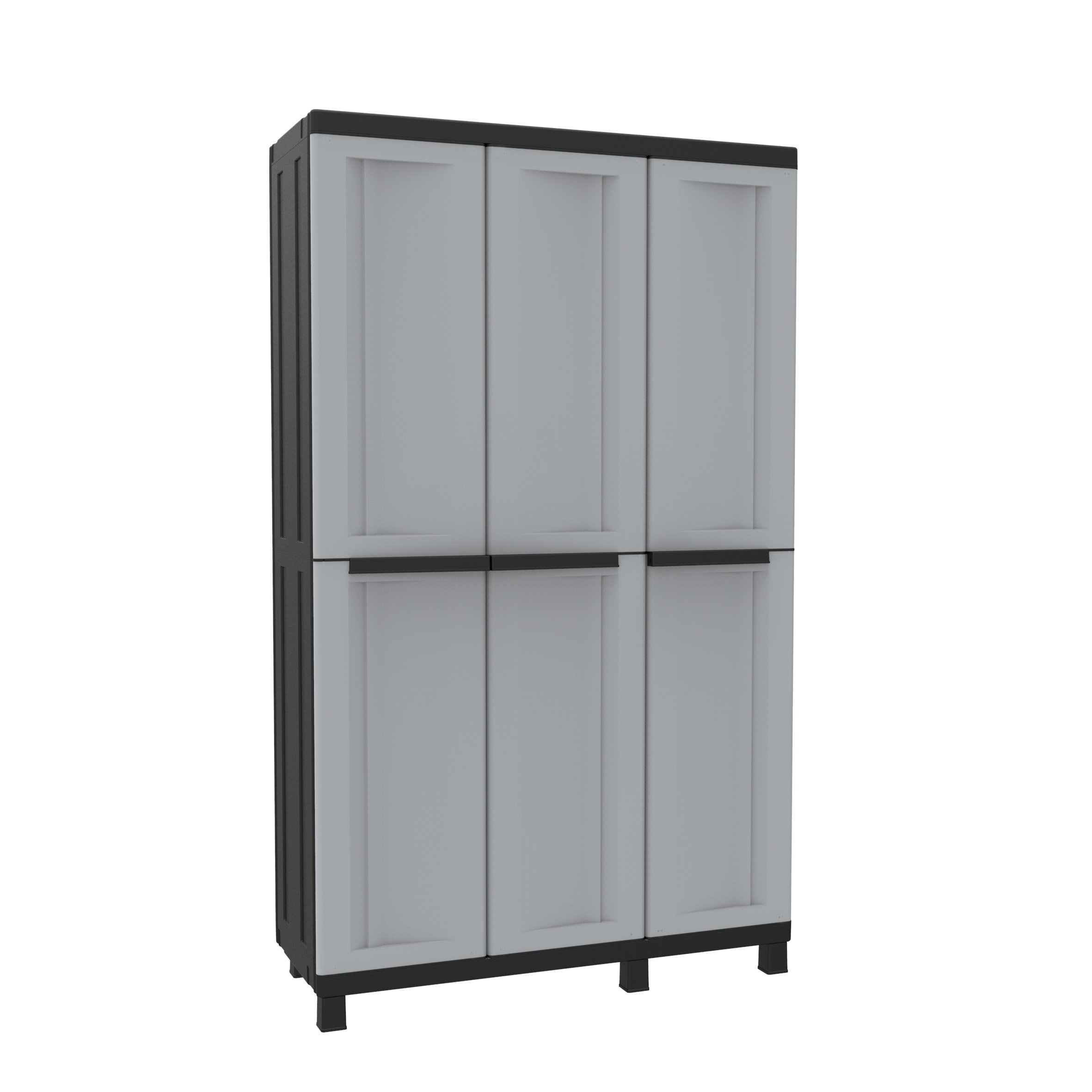 TERRY Plastic Twist Black 102A Tall Wardrobe 3 Doors, Grey/Black, 102 x 39 x 170 cm