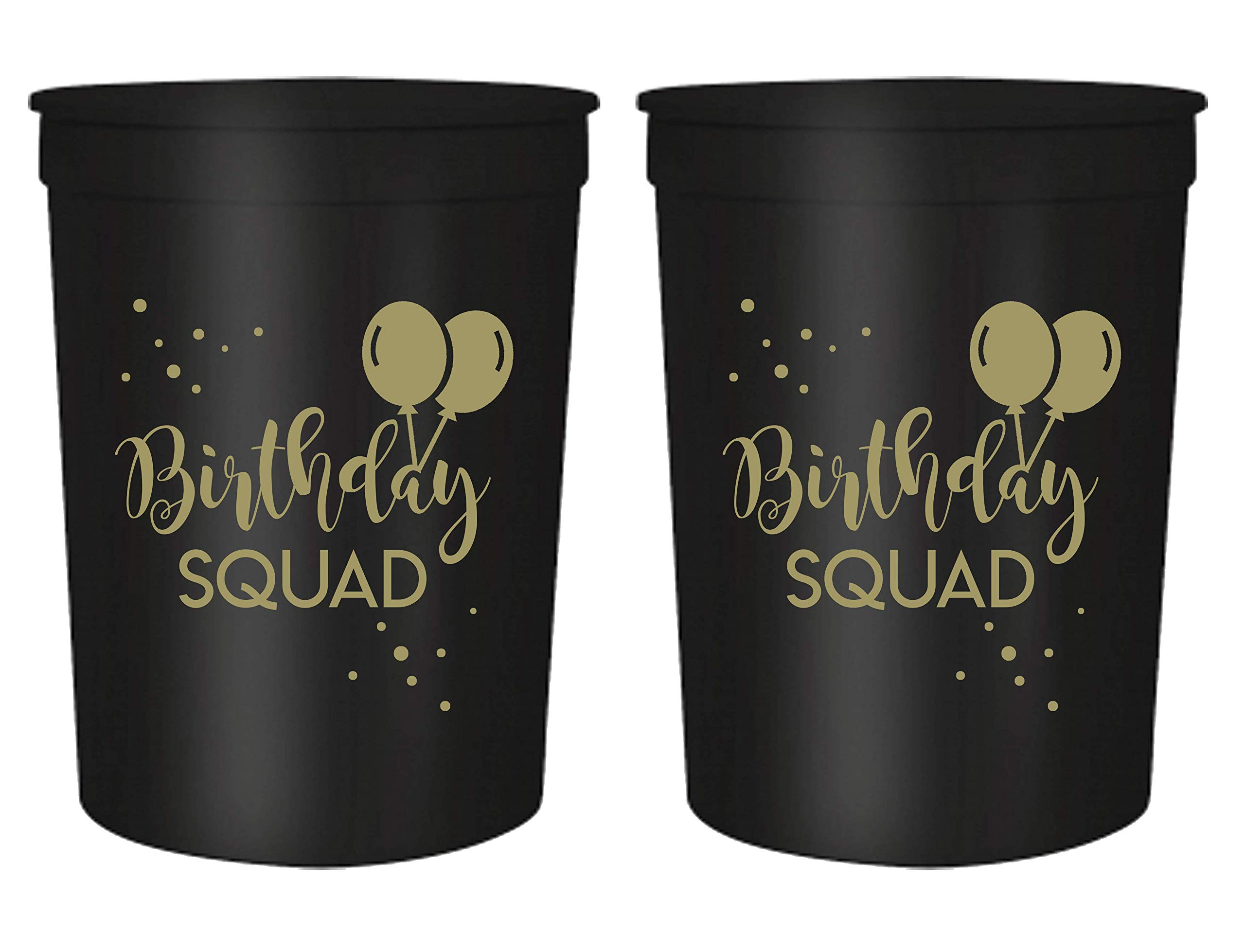 Birthday Squad Party Cups, Set of 12, 16oz Birthday Stadium Cups, Perfect for Birthday Parties, Birthday Decorations, All Birthday Events! (Black)