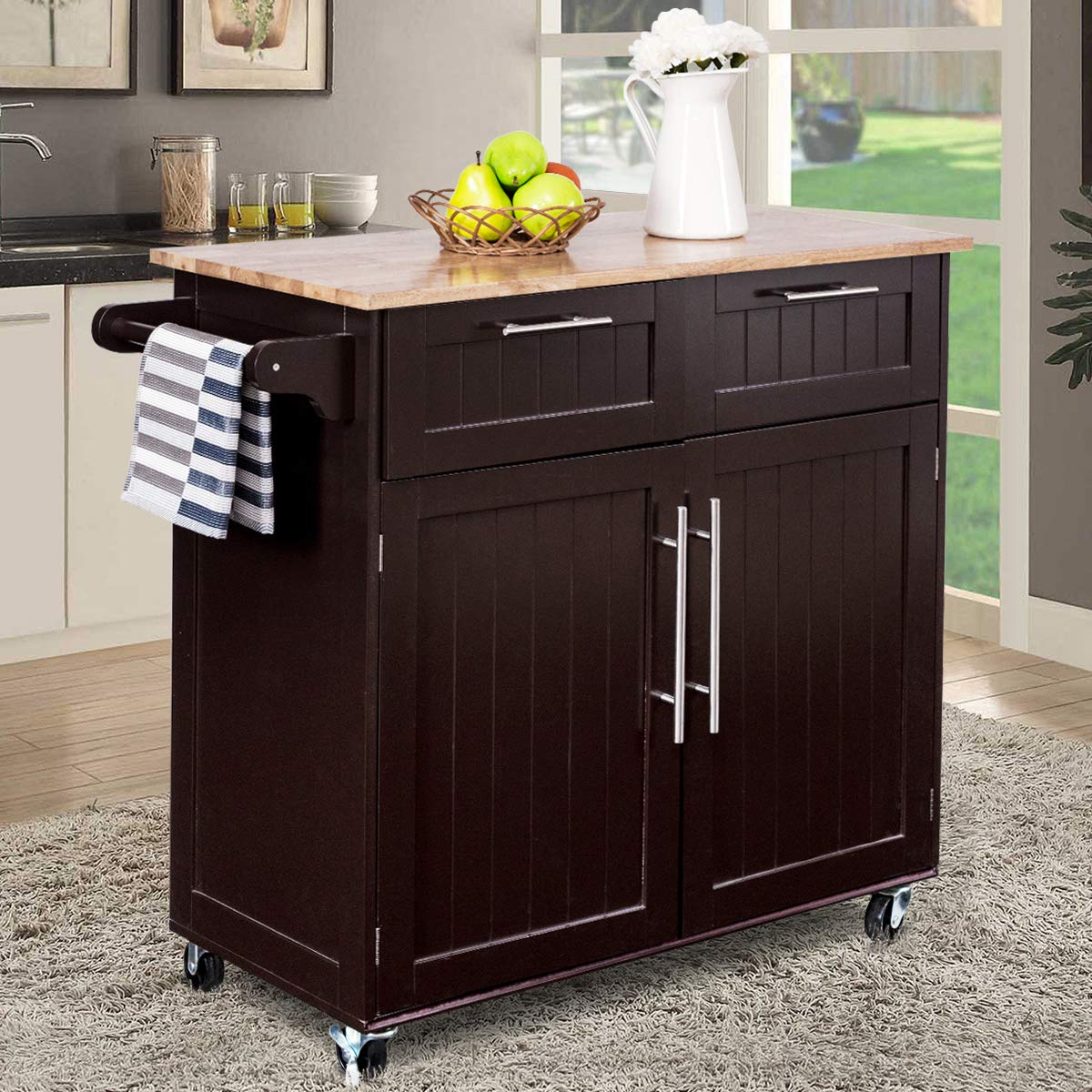 Giantex Kitchen Island Cart Rolling Storage Trolley Cart Home and Restaurant Serving Utility Cart with Drawers,Cabinet, Towel Rack and Wood Top by Giantex (Image #2)