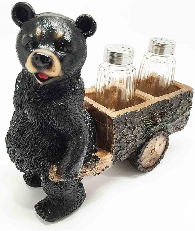 Whimsical Hardworking Black Bear Pulling Spice Cart Salt Pepper Shaker Holder Figurine Gift For Hunters Nature Lovers