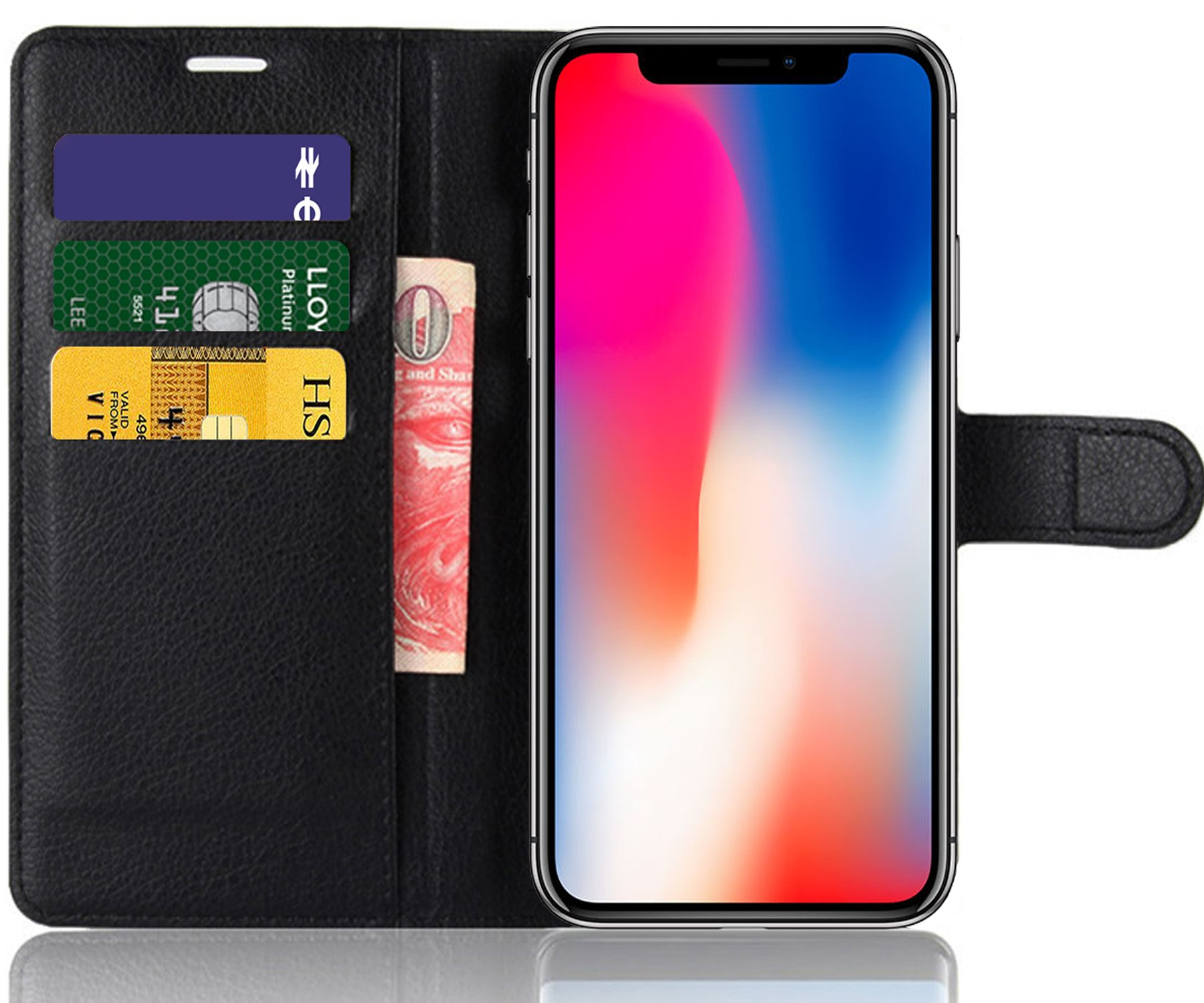 SAMAR – Apple iPhone X Premium Quality Black Wallet Case with slots for Credit Cards and Cash [Extreme Protection] slim fit Cover for iPhone 10 with Free Lifetime Replacement