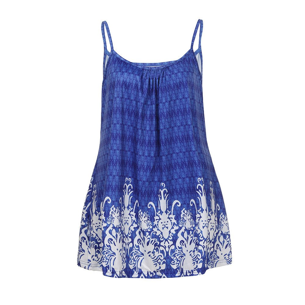 Women's Summer Floral Print Tops Plus Size Loose Fit Spaghetti Strap Camisoles Tunic Tank Tops Yamally Blue
