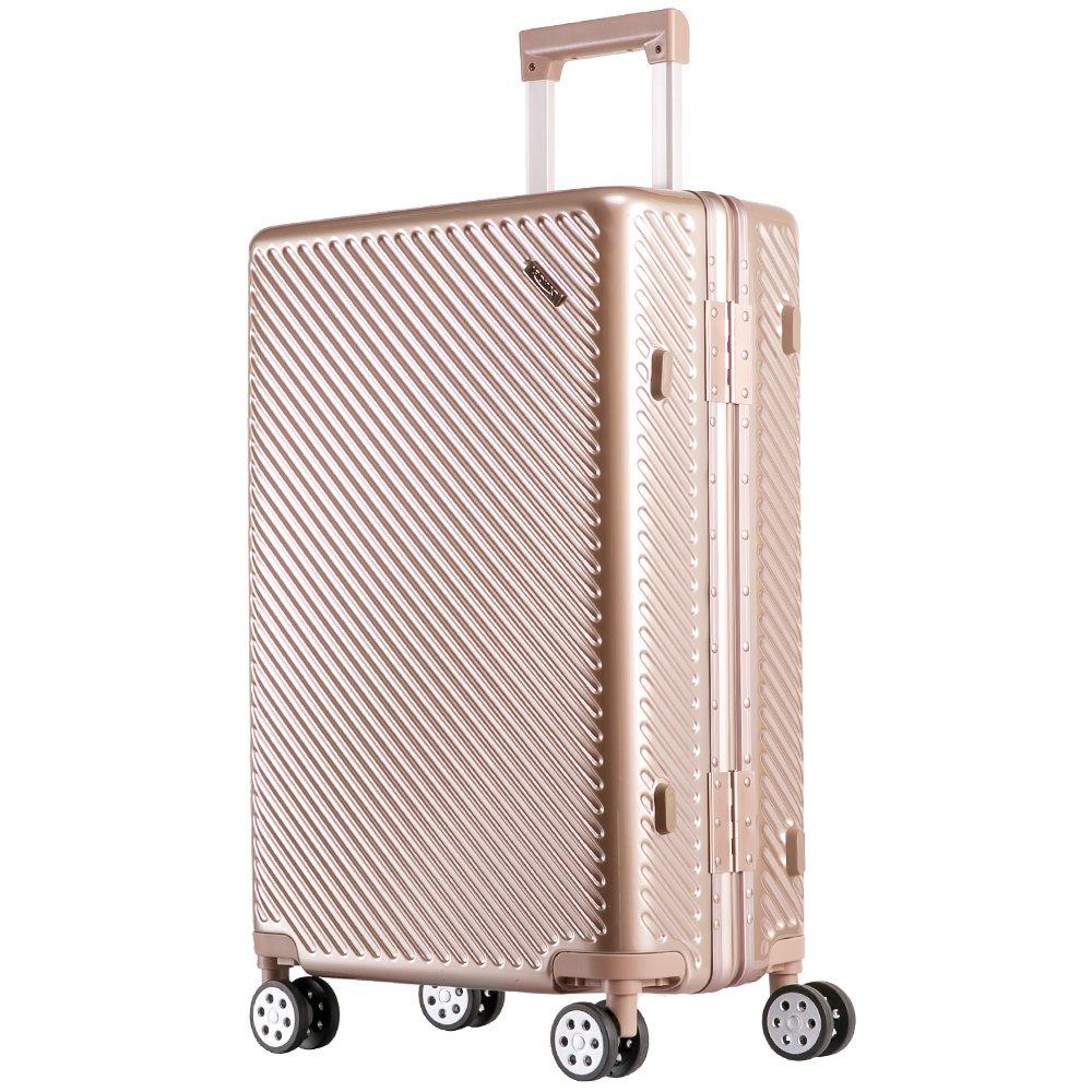 TANOBI スーツケース アルミフレーム TSAロック搭載 斜め縞模様 トラベルバッグ 1年保証 B078RHD75V L|ゴールデン ゴールデン L