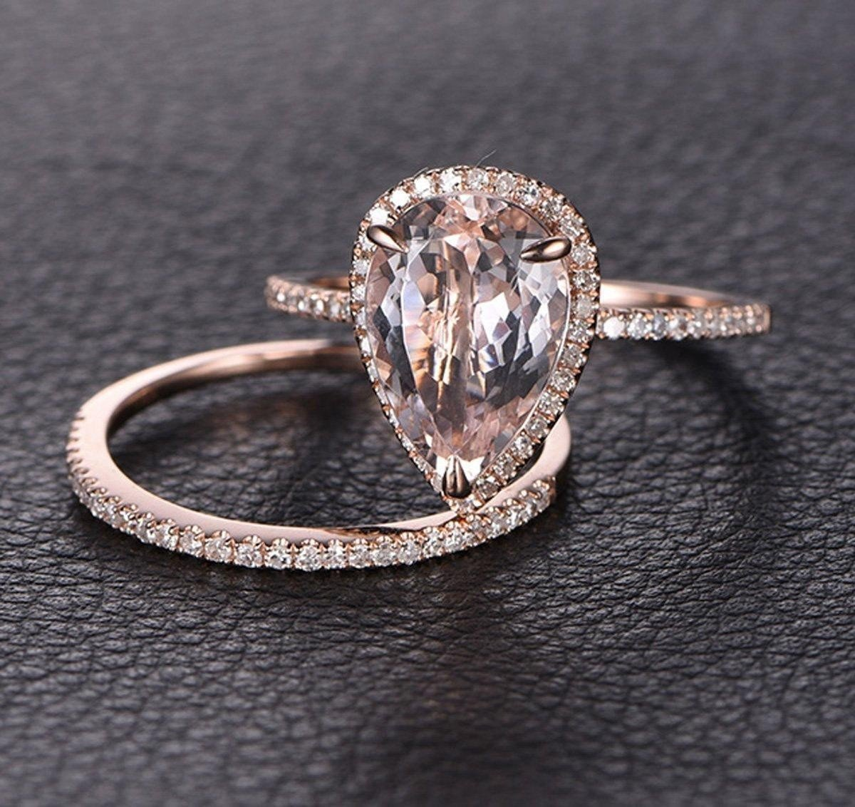 1.50 Carat Pear cut Morganite and Diamond Wedding Ring Set for Women In Rose Gold