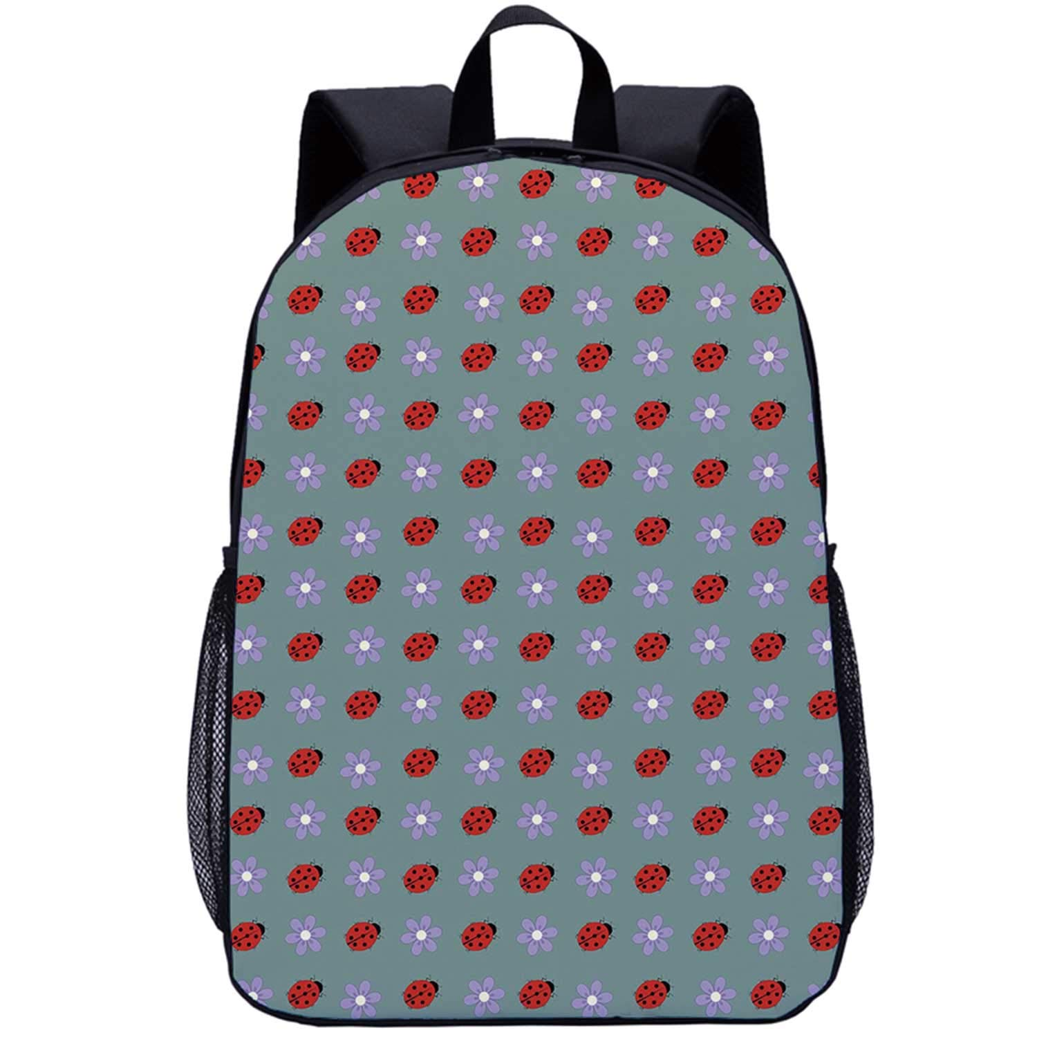 Ladybugs Multi Function Backpack,Bugs and Flower Pattern Flora and Fauna Design Diagonal Lilacs and Beetle Ornament for School,One_Size